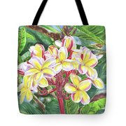Summertime Kauai Island Plumeria Watercolor By Jenny Floravita Tote Bag
