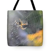 Spider On Web Tote Bag