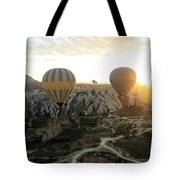 Sun Breaks The Horizon Tote Bag