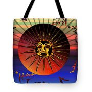 Sun Face Stylized Tote Bag by Robert  G Kernodle