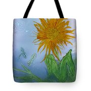 Sun Flower And Dragonflies  At Dusk Tote Bag