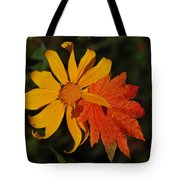 Sun Flower And Leaf Tote Bag