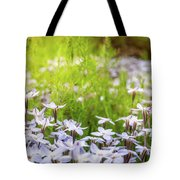 Sun-kissed Meadows With White Star Flowers Tote Bag