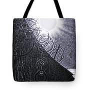 Sun Over Barbed Wire Tote Bag