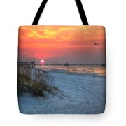 Sun Over Sea N Suds And Pier Large Tote Bag