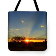 Sun Rays At Sunset With Tree And Saguaro Tote Bag