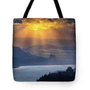 Sun Rays Over Columbia River Gorge During Sunrise Tote Bag