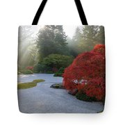 Sun Rays Over Japanese Flat Sand Garden In Autumn Tote Bag