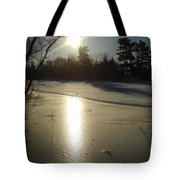 Sun Reflecting Off River Ice Tote Bag