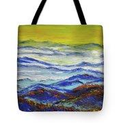 Sun Rise Blue Mountain Tote Bag