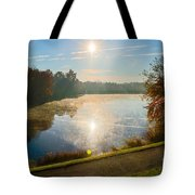 Sun Rising Over Lake Inspiration Tote Bag