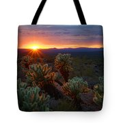 Sun Sets Over The Sonoran  Tote Bag