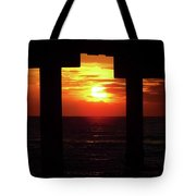 Sun Setting At The Pier Tote Bag