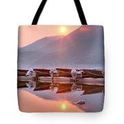 Sun Through Smoke At Mcdonald Tote Bag