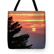 Sun Through The Clouds And Trees Sunset At The Mountains Tote Bag
