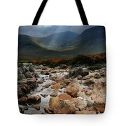 Sunbeams, Glencoe, Scotland Tote Bag