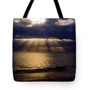 Sunbeams Radiating Through Clouds Before Sunset Tote Bag