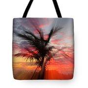 Sunburst Through Palm Tree Tote Bag
