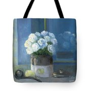 Sunday Morning And Roses - Blue Tote Bag