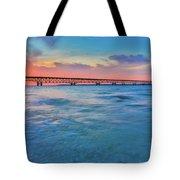 Sundown At Mackinac Bridge Tote Bag