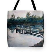 Sundown On The Broken Dock Tote Bag