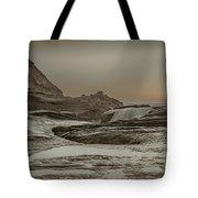 Sundown Over The Ocean Rocks Tote Bag