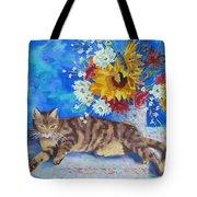 Sunflower Cat Tote Bag