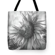 Sunflower Dawn Black And White Drawing Tote Bag