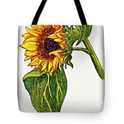 Sunflower In Gouache Tote Bag