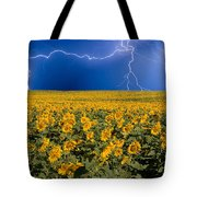 Sunflower Lightning Field  Tote Bag