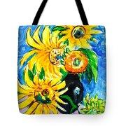 Sunflower On Black Vase Tote Bag