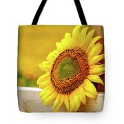 Sunflower On The Fence Tote Bag