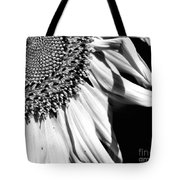 Sunflower Petals In Black And White Tote Bag