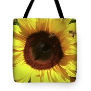 Sunflower With Bees Tote Bag