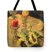 Sunflowers And Apples Tote Bag