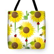 Sunflowers And Bees Tote Bag