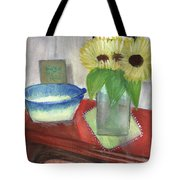 Sunflowers And Blue Bowls Tote Bag