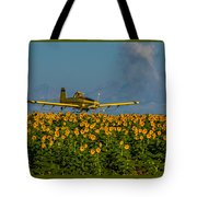 Sunflowers And Crop Duster Tote Bag