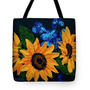 Sunflowers And Delphinium Tote Bag