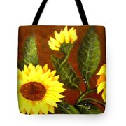 Sunflowers And Dewdrops Tote Bag