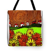 Sunflowers And Fields Tote Bag