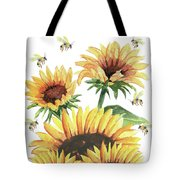Sunflowers And Honey Bees Tote Bag