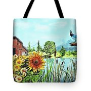Sunflowers And Jaybird Tote Bag
