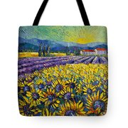 Sunflowers And Lavender Field - The Colors Of Provence Modern Impressionist Palette Knife Painting Tote Bag