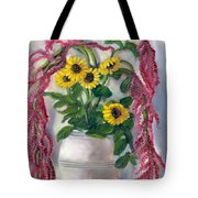 Sunflowers And Love Lies Bleeding Tote Bag