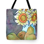 Sunflowers And Pears Tote Bag by Loretta Nash