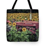Sunflowers And Tractor Tote Bag