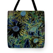 Sunflowers By Wall Tote Bag