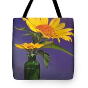 Sunflowers In A Green Bottle Tote Bag