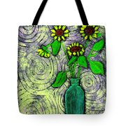 Sunflowers In A Green Vase Tote Bag
